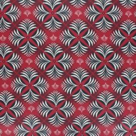 Tissu coton cretonne enduit Coumba - rouge x 10cm