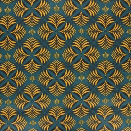 Coated cretonne cotton fabric - petrol blue Coumba x 10cm