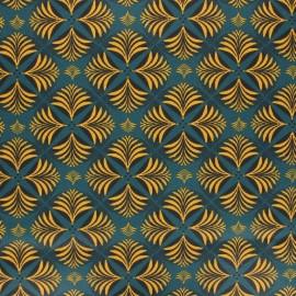 Tissu coton cretonne enduit Coumba - bleu pétrole x 10cm