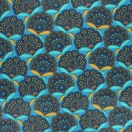 Coated cretonne cotton fabric - blue Massa x 10cm