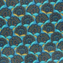 Tissu coton cretonne enduit Massa - bleu x 10cm