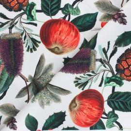 Tissu toile de coton satiné Pinede - blanc x 50 cm