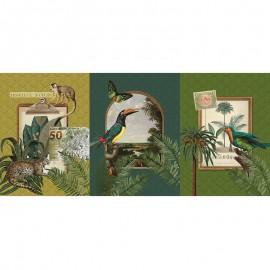 Tissu toile de coton panneau - Tropical nature x 72 cm