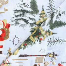 Cotton Canvas fabric - light grey Christmas day x 30cm