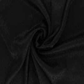 Satin Jacquard Lining Fabric - black Fancy x 10cm