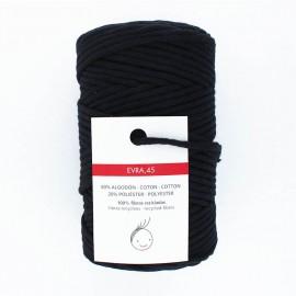 Cordon macramé 6mm recyclé Evra - noir