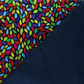 Tissu Softshell Colorful Leaves - bleu marine x 10cm