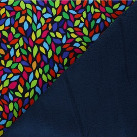 Water-repellent Softshell fabric – navy blue Colorful Leaves x 10cm