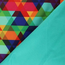 Tissu Softshell Triangle Pop - turquoise x 10cm