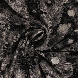 Tissu Viscose Dark Flowers - noir x 10 cm