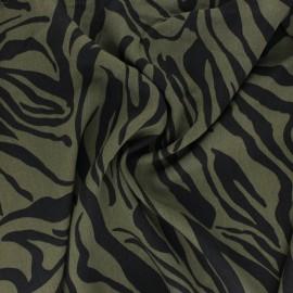 Tissu lyocell Tencel sergé Crazy Zebra - vert kaki x 10cm