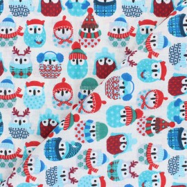 Tissu coton cretonne Winter owl - bleu x 10cm
