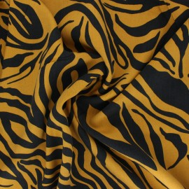 Tissu lyocell Tencel sergé Crazy Zebra - jaune moutarde x 10cm