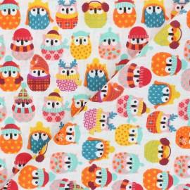 Cretonne cotton fabric - orange Winter owl x 10 cm