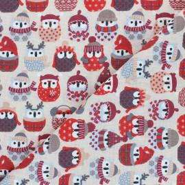 Cretonne cotton fabric - bordeaux Winter owl x 10 cm
