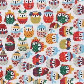 Tissu coton cretonne Winter owl - vert x 10cm