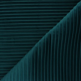Thevenon pleated velvet fabric - duck blue Please x 10cm