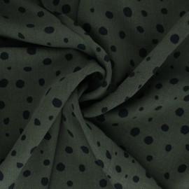 Lyocell Tencel twill fabric - khaki green dots x 10cm