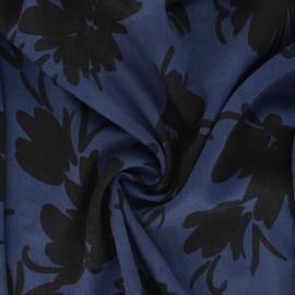 Lyocell Tencel twill fabric Flowers - sapphire blue x 10cm