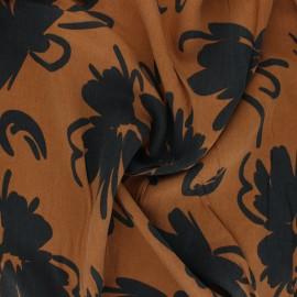 Lyocell Tencel twill fabric Flowers - camel x 10cm