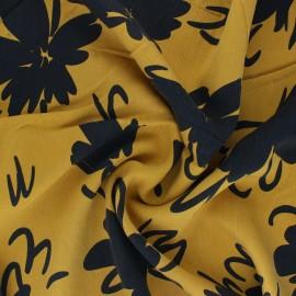 Lyocell Tencel twill fabric Flowers - mustard yellow x 10cm
