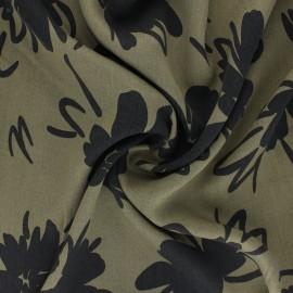 Lyocell Tencel twill fabric Flowers - khaki green x 10cm