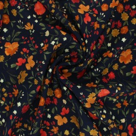 Flowery Viscose fabric - black Livie x 10cm
