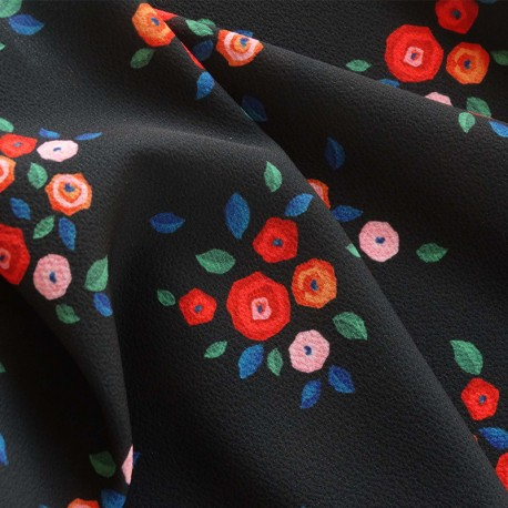 Atelier 27 Elastane Crepe fabric - black Delice x 10cm