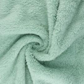 Cotton sheep fur fabric - almond green x 10cm
