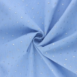 Striped Cotton voile Fabric - sky blue Little hearts  x 10cm