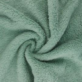 Cotton sheep fur fabric - sauge green x 10cm