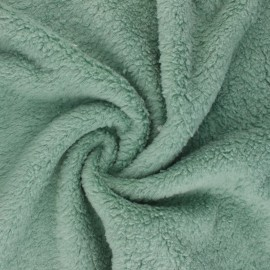 Tissu fourrure mouton coton - vert sauge x 10cm