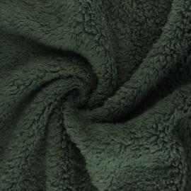 Tissu fourrure mouton coton - vert x 10cm