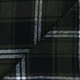 Tissu drap manteau Lumberjack - vert kaki x 10cm