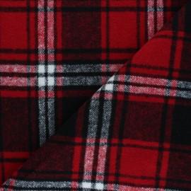 Tissu drap manteau Lumberjack - rouge x 10cm
