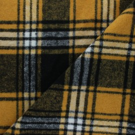 Tissu drap manteau Lumberjack - jaune moutarde x 10cm