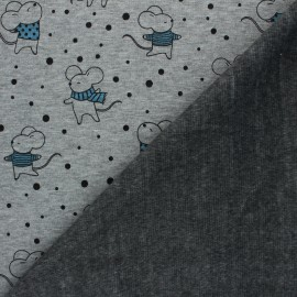Sweat fabric with minkee reverse - mottled light grey winter mouse x 10cm