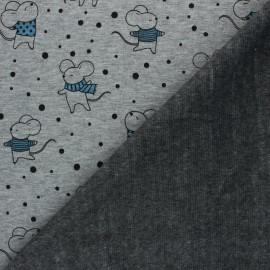 Tissu sweat envers minkee Souris d'hiver - gris clair chiné x 10cm