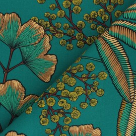 Cotton canvas fabric Thevenon - emerald green Victoria x 10cm