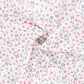 Tissu coton Popeline Poppy Sweet Bunny - blanc x 10cm