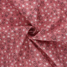 Tissu coton Popeline Poppy Sweet Bunny - rose x 10cm