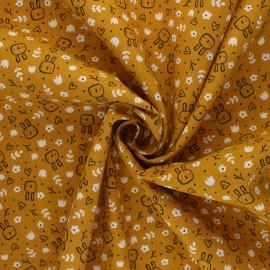Tissu coton Popeline Poppy Sweet Bunny - jaune moutarde x 10cm