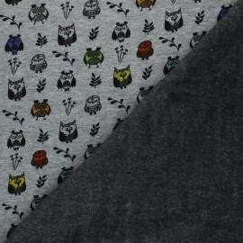 Sweat fabric with minkee reverse - mottled light grey Owl x 10cm