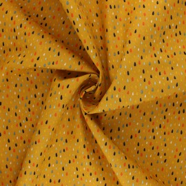 Tissu coton Popeline Poppy Colorful Drops - jaune moutarde x 10cm