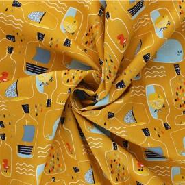 Tissu coton Popeline Poppy Bottle Post - jaune moutarde x 10cm