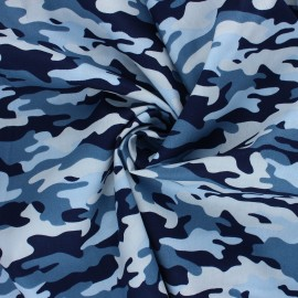 Poppy poplin cotton Fabric - blue Camouflage x 10cm