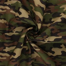 Poppy poplin cotton Fabric - green Camouflage x 10cm