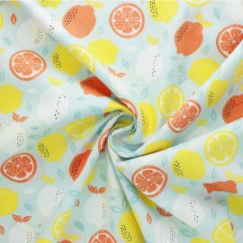 Tissu coton Popeline Poppy Fresh Lemon - bleu x 10cm