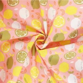 Tissu coton Popeline Poppy Fresh Lemon - rose x 10cm