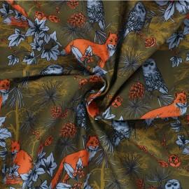 Poppy poplin cotton Fabric - khaki green Forest by Night x 10cm